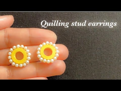 diy paper quilling studs/making simple and easy quilling earrings/quilling jewelry