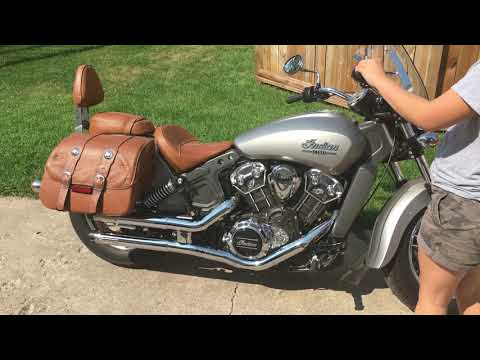 "2.5"" Maverick Crushers on 2016 Indian Scout with OEM saddle bags."