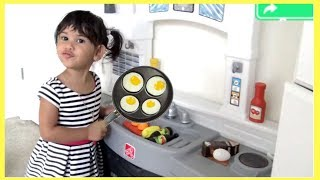 Sam and Abby playing w/ Kitchen Cooking Kids Toys /Fun video for kids