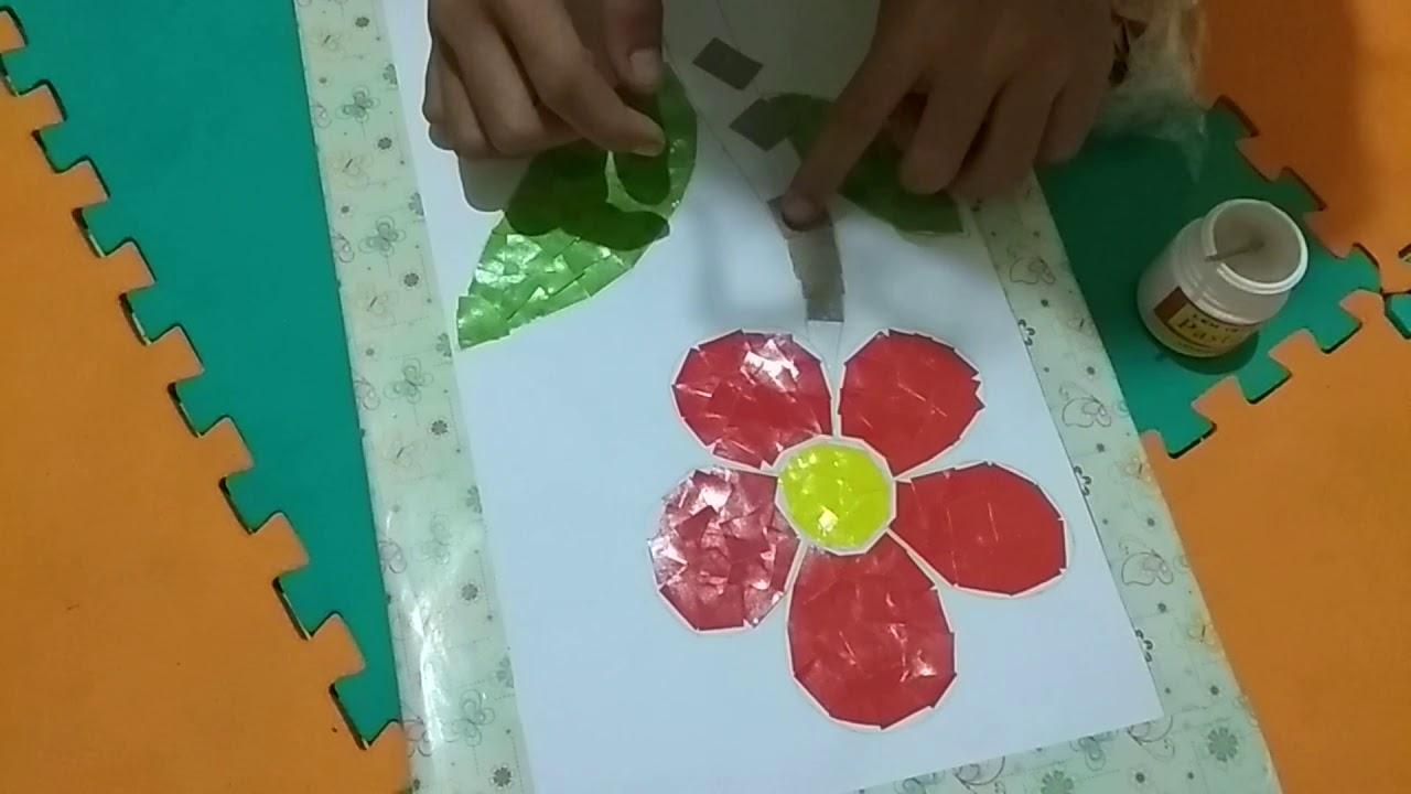 Cara Membuat Kolase Dari Potongan Kertas Lipat Berwarna Youtube