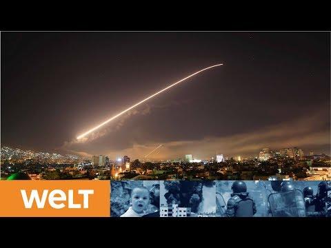 """""""Vergeltung für Giftgaseinsatz"""":  Erste alliierte Angriffswelle mit hundert Raketen trifft Syrien"""