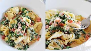 Skillet Spinach & Tomato Tortellini