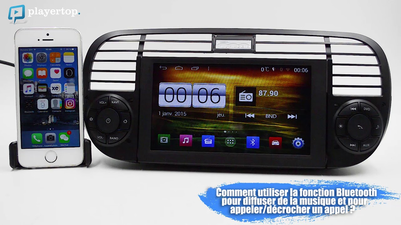 gps fiat 500 autoradio android et bluetooth auto chez player top youtube. Black Bedroom Furniture Sets. Home Design Ideas