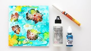 Alcohol Inks Painting -Stained Glass Flowers Demo - Getting over mistakes in art