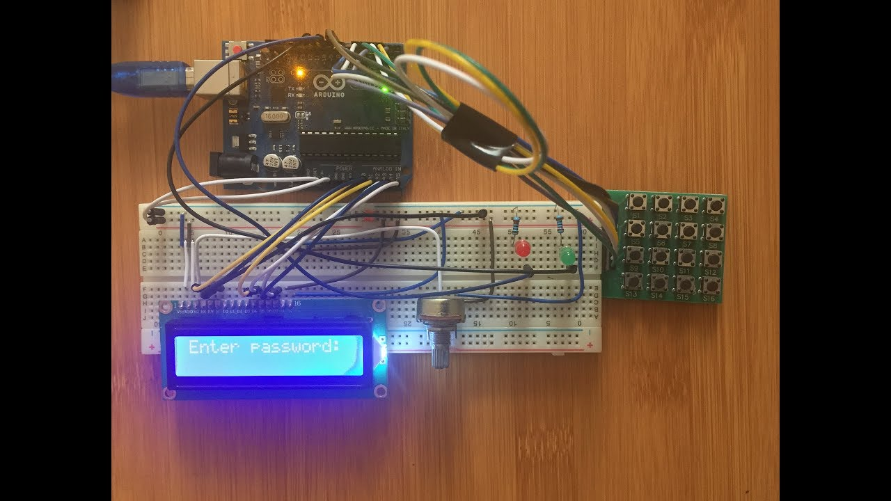 4x4 keypad with Arduino password based security system  -