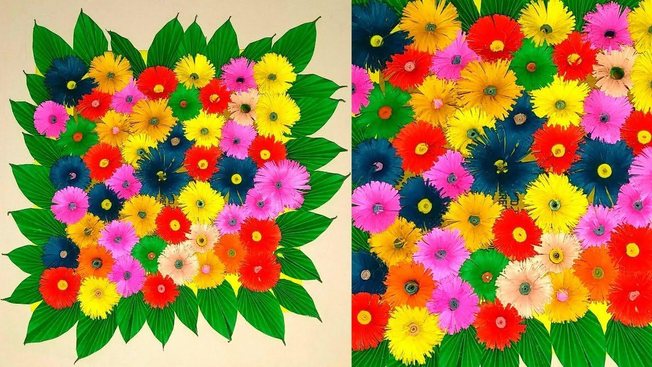 दीवार की सजावट कैसे करे   दीवार सजाने का तरीका   paper flowers room decor