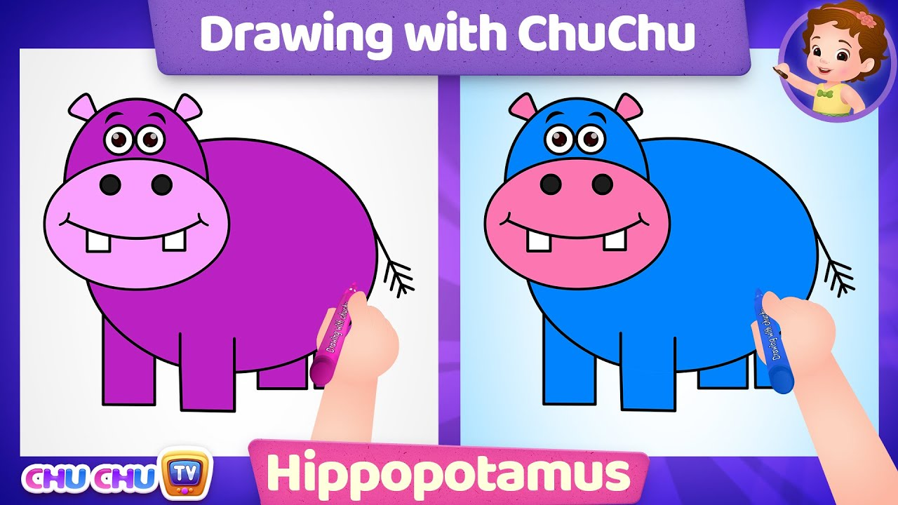 How to Draw a Cute Hippo Step by Step? - Drawing with ChuChu - ChuChu TV Drawing Lessons for Kids