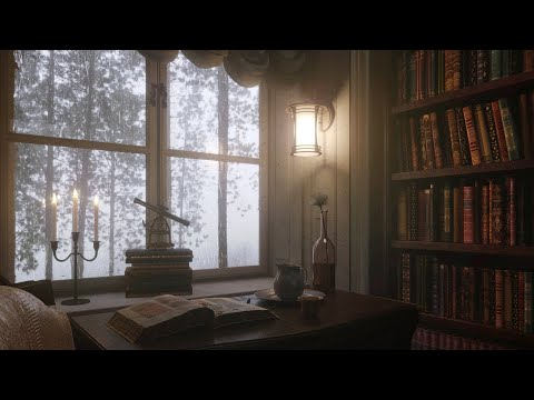 Thunderstorm and Rain I European Modern Era Private library Ambience