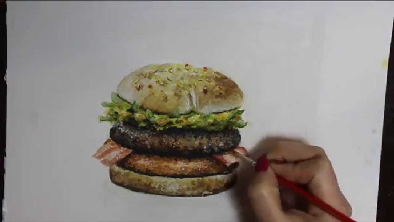 how to draw a burger  time-lapse