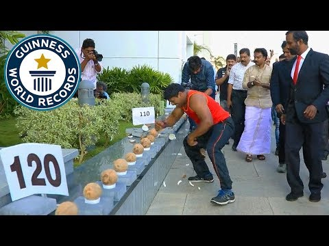 Most coconuts smashed in a minute! - Guinness World Records