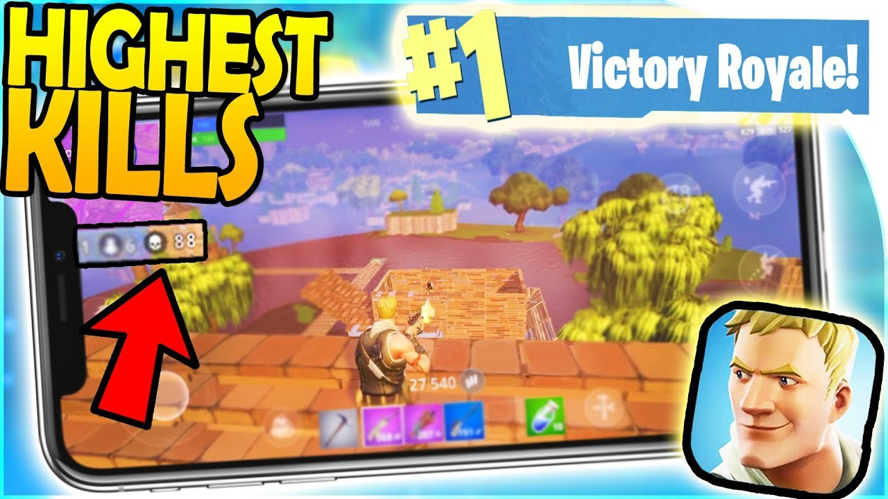 Fortnite Mobile Highest Kills And The Win Mobile Fortnite Battle Royale Iphone X Gameplay