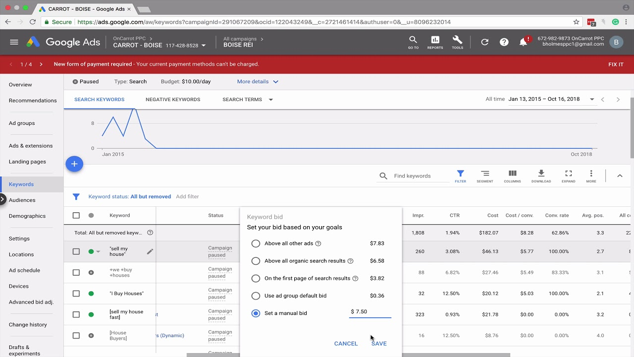 How to Adjust Keyword Bids in AdWords