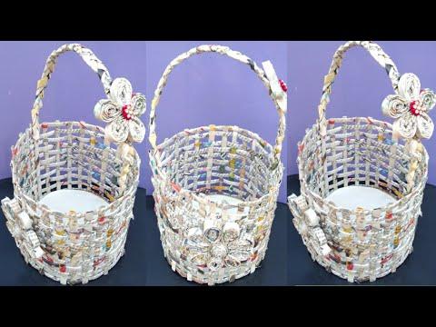 How to make newspaper basket | newspaper craft ideas | पुराने अख़बार से बनाये बास्केट | reuse idea