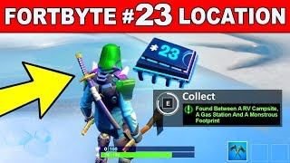 FOUND BETWEEN A RV CAMPSITE, A GAS STATION AND A MONSTROUS FOOTPRINT -Fortnite Fortbyte #23 Location