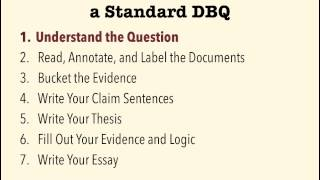 Standard DBQs - Step 1: Understand the Question