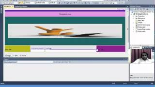 Create Master Page and Navigation Bar, insert pages using visual studio-2010 (Design View)