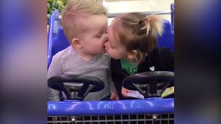 original video cute babies first kiss
