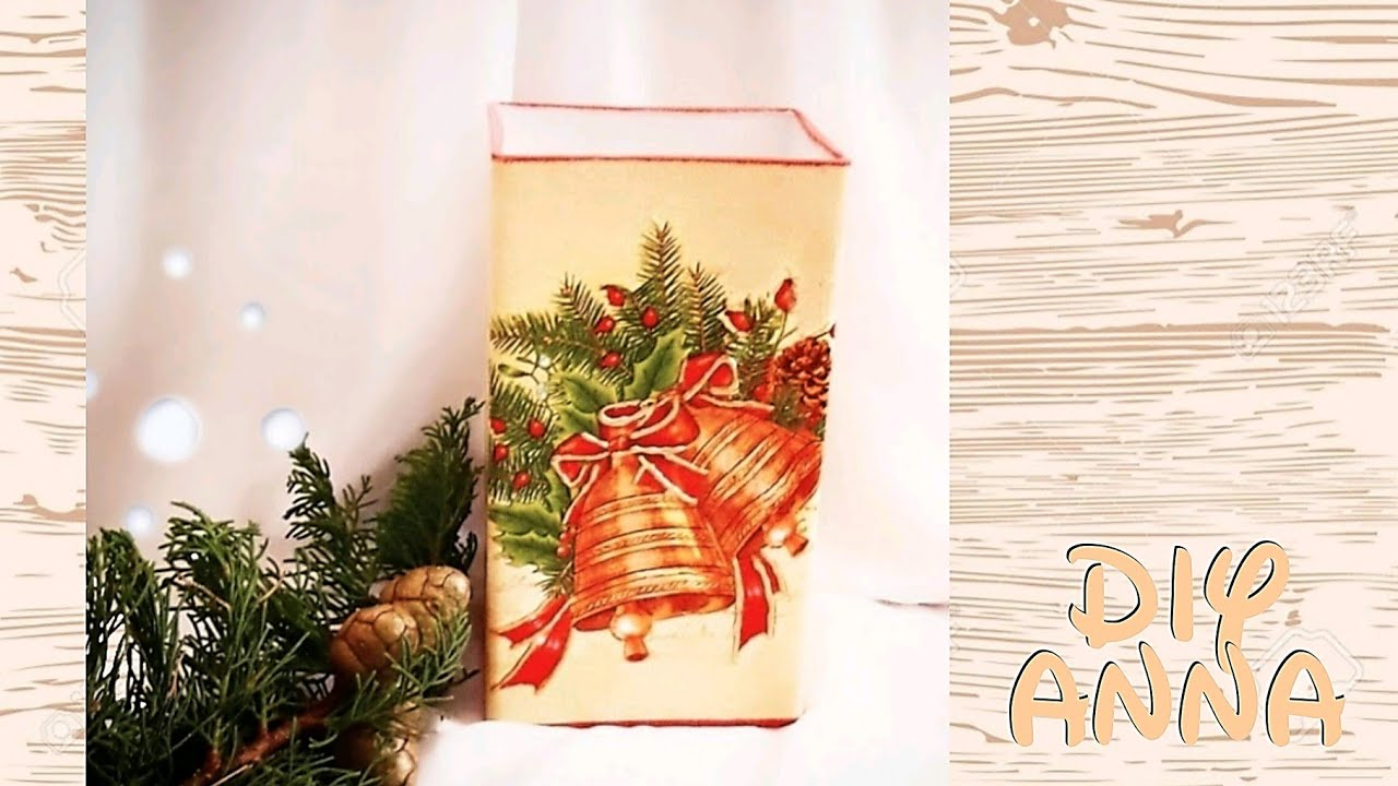 christmas decoupage vase diy ideas decorations craft tutorial uradi sam youtube