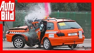 Crashtest: DEKRA-Testgelände Neumünster / Erschreckender Baum-Crash / Crashtest mit Tempo 100