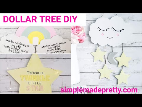 DOLLAR TREE Nursery Decor DIY -Baby Decor, Kid's Room, Cloud And Star Themed Decor