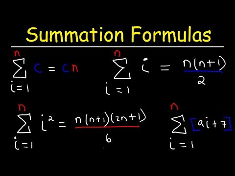 Summation Formulas And Sigma Notation - Calculus