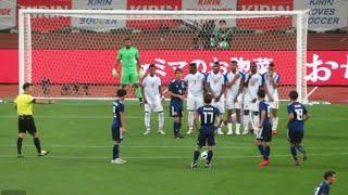 日本代表のFKでパナマ代表が二重の壁で対応  サッカー日本代表xパナマ代表