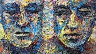 Original oil painting face expressionism art deco nyc gallery thick large - x1252