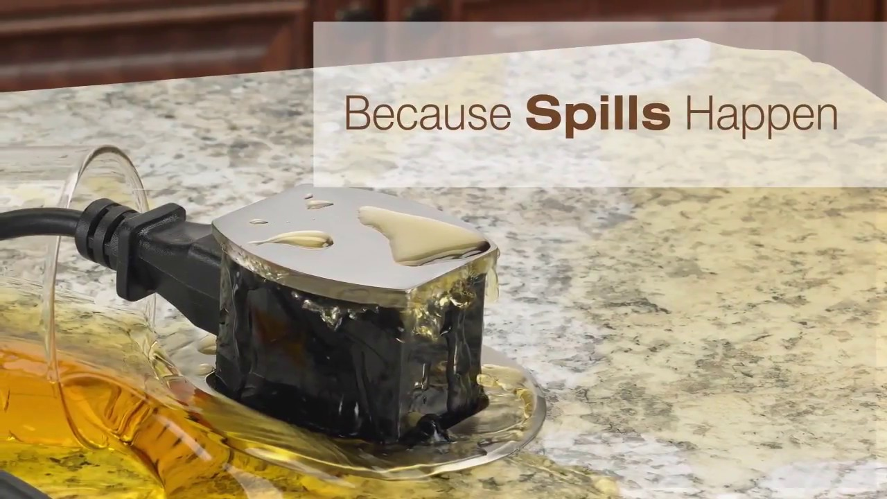 Hubbell Countertop Pop Up Outlets Overview Spill Test