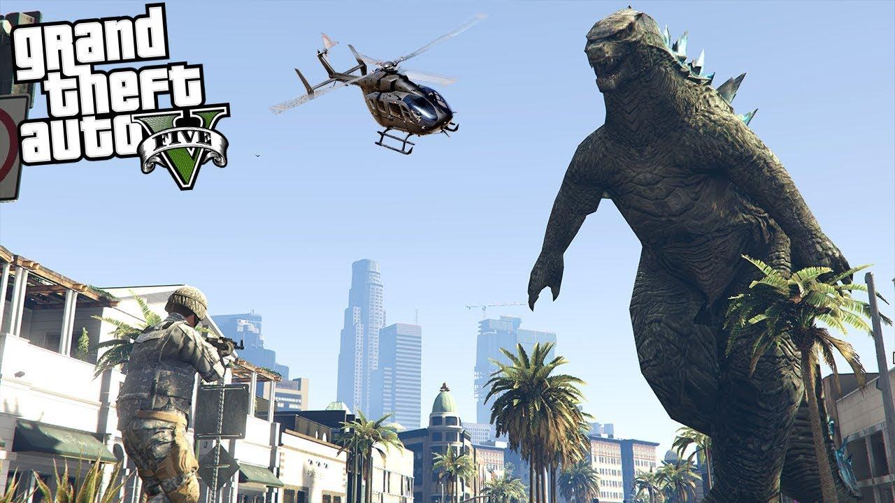 THE GODZILLA MOD IN GTA 5!!! - ARMY CALLED (GTA 5 Mods Gameplay)