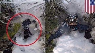 """Отец спас сына из снежного """"колодца"""""""