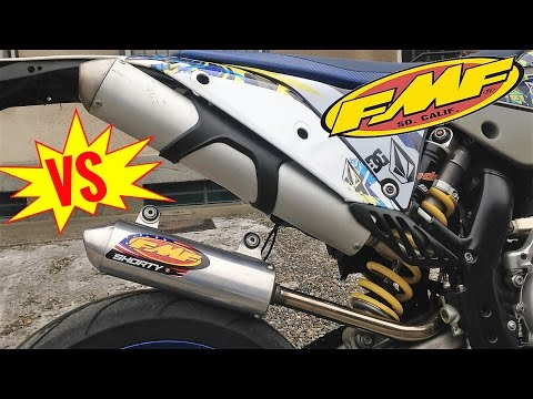 FMF shorty VS Stock KTM exaust - 250 2t comparative sound