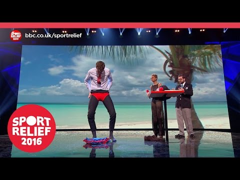 Greg James attempts a World Record for wearing swimming trunks