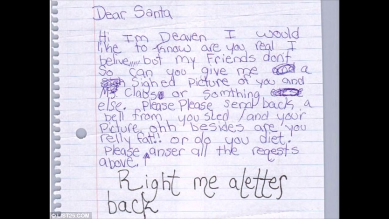funny letters to santa claus kids letters hilarious christmas letters part 2 - Funny Christmas Letters