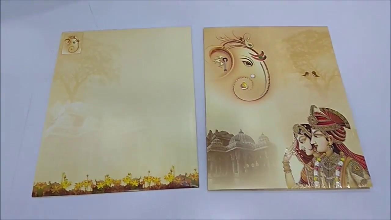 Fair Pale Yellow Color With Ganesha Wedding Card - KNKJ1085 - YouTube