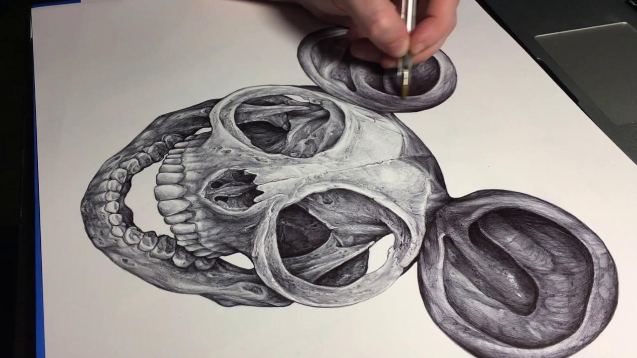 Mickey Mouse Skull Ball Pen Speed Drawing Art By Alessandro Conti