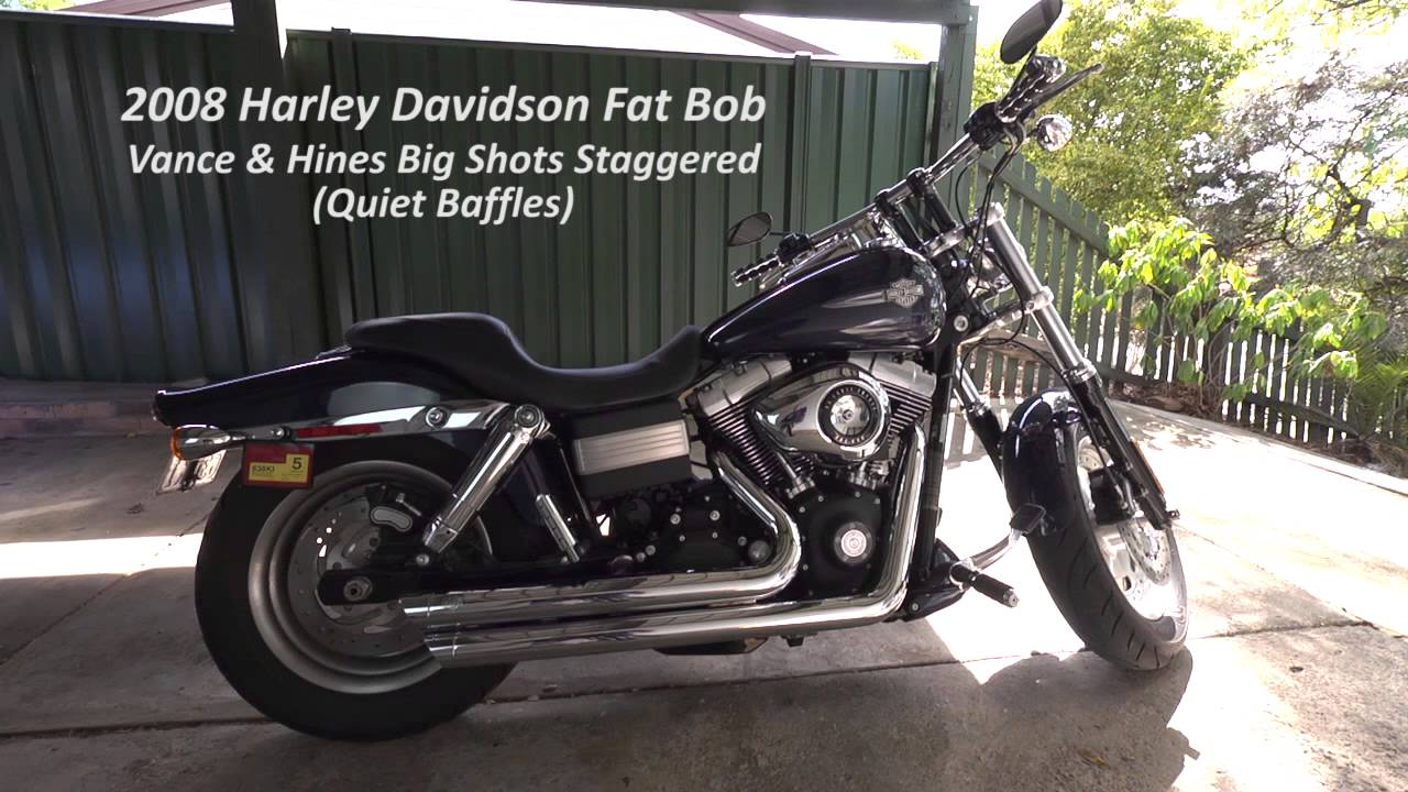 Harley Davidson Fat Bob Tommy Gun Exhaust vs Vance & Hines Big Shots