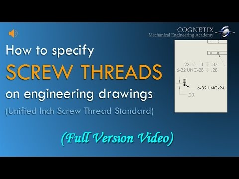 How to Define SCREW THREADS on Engineering Drawings (Unified Inch Screw Thread Standard)