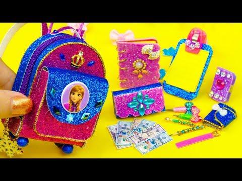DIY Miniature Frozen Anna School Supplies ~ Backpack, Glitter Pen, Pencil Case