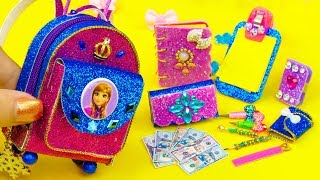 DIY Miniature Frozen Anna School Supplies ~ Backpack, Glitter Pen, Pencil Case