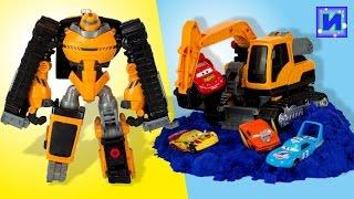 Тоботы Трансформеры. Тобот Роки. Робот экскаватор и игрушечные машинки Тачки.