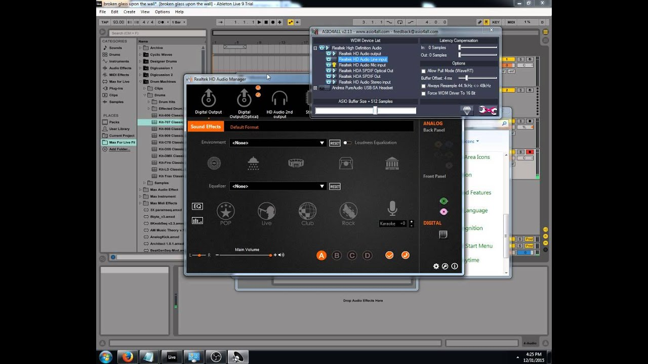 Getting microphone to work with Asio4All and Realtek HD Audio Manager,  Ableton Live 9 5