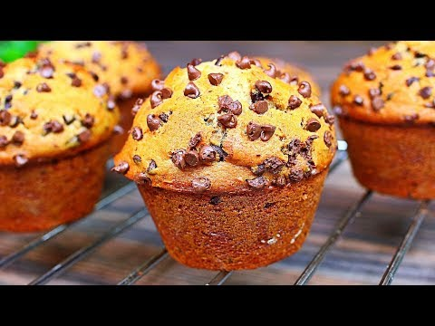Soft Fluffy Bakery Style Chocolate Chip Muffins Recipe