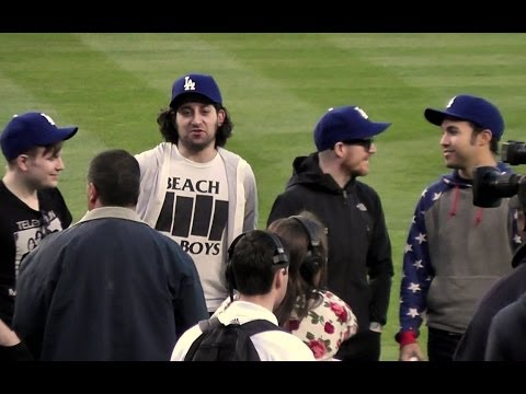 Pete Wentz of 'Fall Out Boy' Throws First Pitch at Dodger Stadium