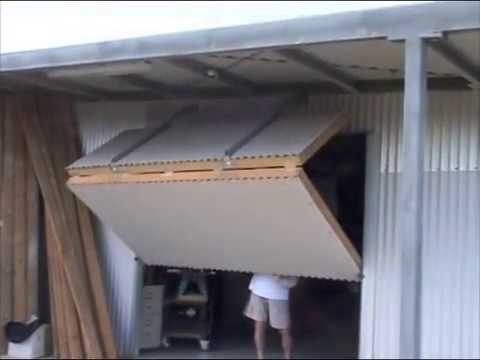 garage door for shedhangar style bifold door on my shed 2  YouTube