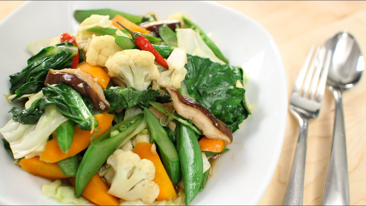 Thai mixed veg stir fry recipe hot thai kitchen youtube forumfinder