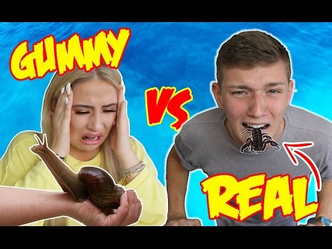 REAL FOOD VS GUMMY FOOD CHALLENGE!! 'EXTREME EDITION!' ( EATING A SCORPION )