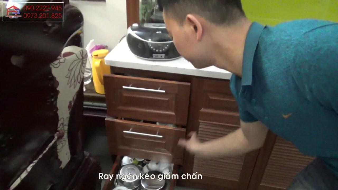 Nội thất Hpro   Mẫu tủ bếp gỗ xoan đào kèm tủ rượu kịch trần tiện ích nhà anh Biên – Đại La