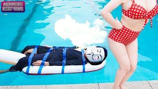 UNDERWATER ATM GIRL BATTLE - Girl Seal Warriors Go Swimming Nerf Guns Fight Crime PRANK HACKER