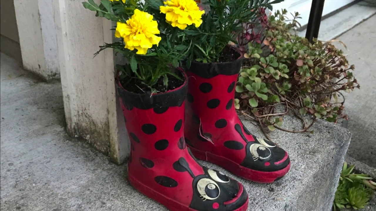 How To Make A Rubber Boot Planter Youtube