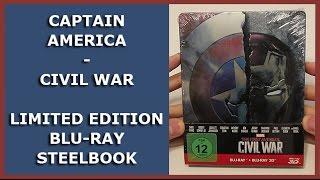 CAPTAIN AMERICA - CIVIL WAR - LIMITED DEBOSSED 3D BLU-RAY STEELBOOK UNBOXING
